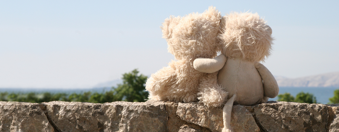 cuddly toys sitting on a wall looking out over the sunny countryside